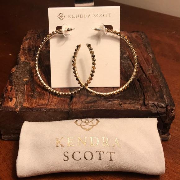 e690caa73 Kendra Scott Jewelry | Birdie Hoops Earring Brown Tigers Eye | Poshmark